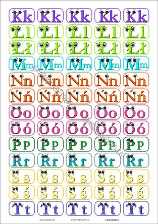 Naklejki 3 Arkuszy Alfabet Polski śmieszne Wielkie I Male Litery