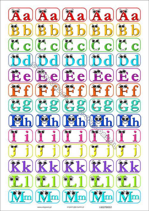 Naklejki 2 Arkuszy Alfabet Angielski Smieszne Wielkie I Male Litery