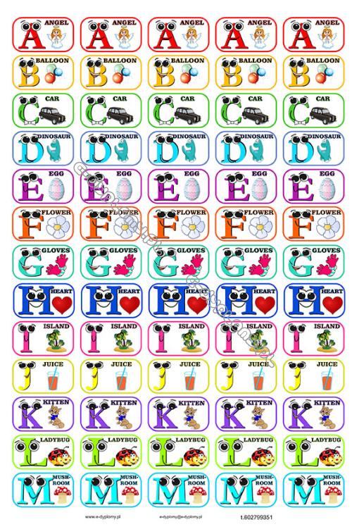 Naklejki 2 Arkuszy Alfabet Angielski Smieszne Litery Z Obrazkami